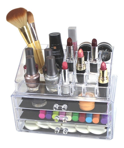 Organizador Maquillaje Acrílico Labiales Brochas Joyas Aret