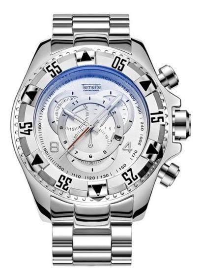 Relógio Masculino Temeite Dourado Azul Relógio Ostentação!!!