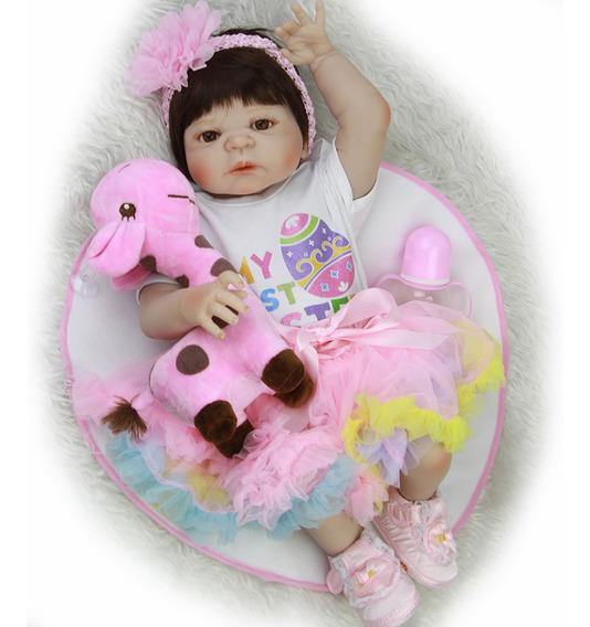 Bebê Reborn Karol 12x S/ Juros Frete Grátis 57 Cm Silicone