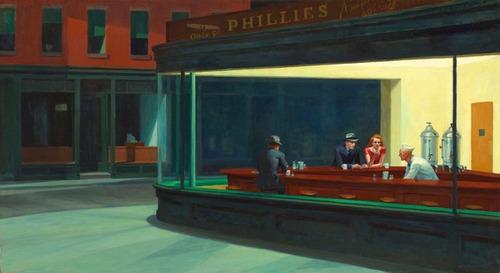 Gravura Para Quadro Edward Hopper 50cmx90cm Obra Nighthawks