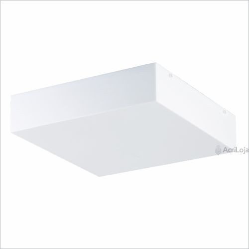 Plafon Acrílico 35x35 Sobrepor Quadrado Luminária 4 Lâmpadas