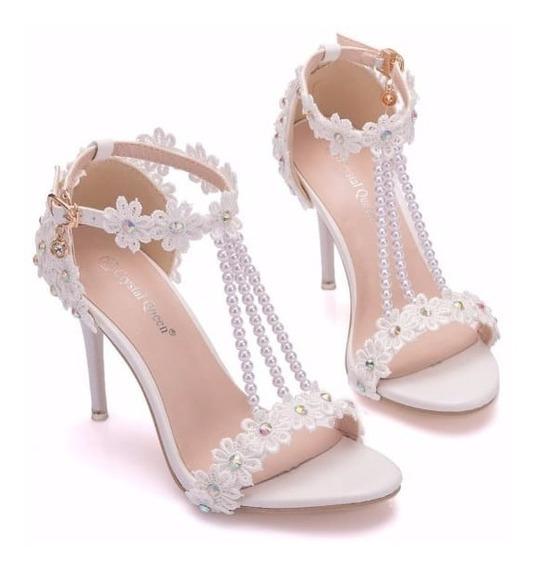 Sandalia Branca Salto Noiva Renda Luxo Festa Casamento 6