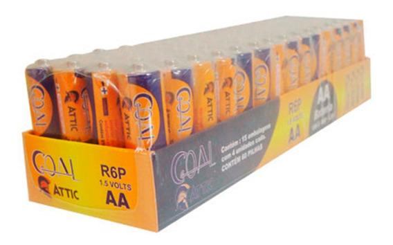 Pilha Comum Aa 2a R6p Caixa 60 Unidades Goal Pronta Entrega