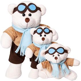 Trio De Urso Aviador Para Nicho E Decoração De Quarto Bebê