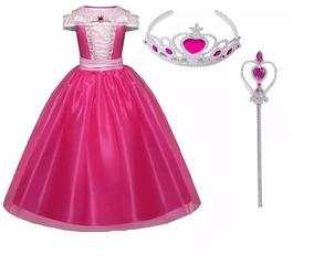 Vestido Fantasia Aurora Bela Adormecida + Coroa E Varinha