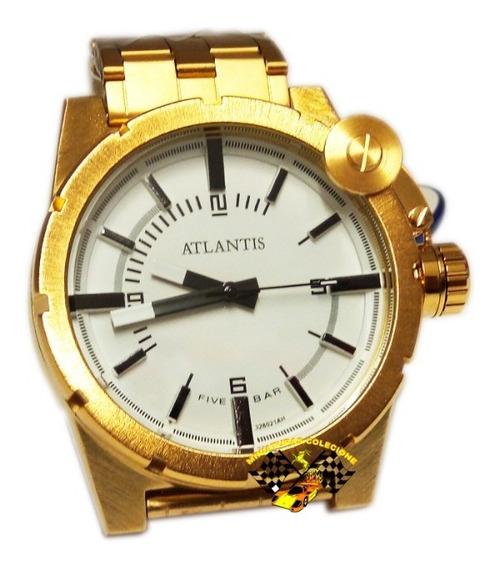 Relógio Masculino Dourado Aço Luxo Grande Atlantis A3283