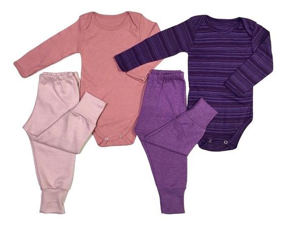Kits 4 Peças Bebê: Bodys Calças Shorts 100% Algodão 143k