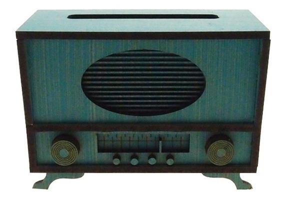 Radio Retro Decorativo Miniatura Cor Azul Em Mdf 10x6x14cm