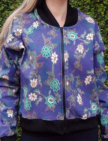 Jaqueta Bomber Floral Azul Blusa Florida Casaco Frio -pronta