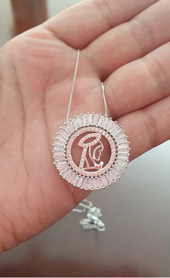 Colar Mandala Religioso Zircônias Cravejadas Banho 18k