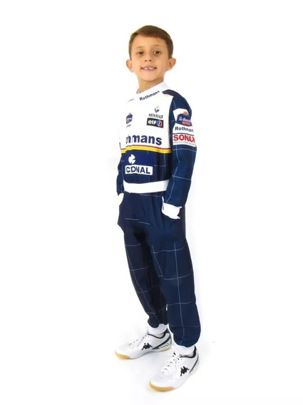 Macacão Infantil Fantasia Piloto Senna Williams