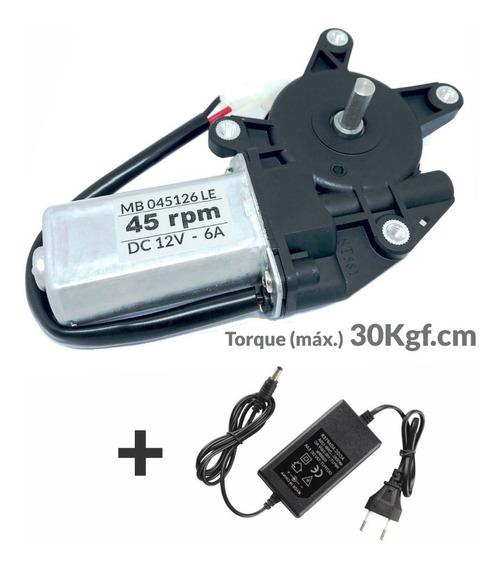Motor 12v Dc 45 Rpm Com Caixa De Redução + Fonte 12v 5a