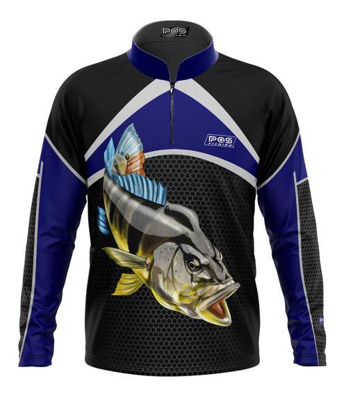 Camiseta Pqs Pesca Proteção Peixe Tucunaré Uv Ref 37