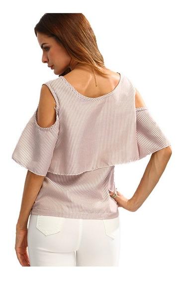 Diseño. Blusa Pastel Volados Rayada Sin Hombros Mujer Remera