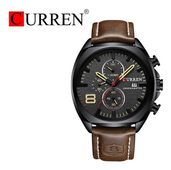 Relógio Masculino Curren Casual Couro Frete Grátis 12xs/juro