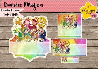 2x1 Etiquetas Escolares Imprimible Duendes Magicos Todos