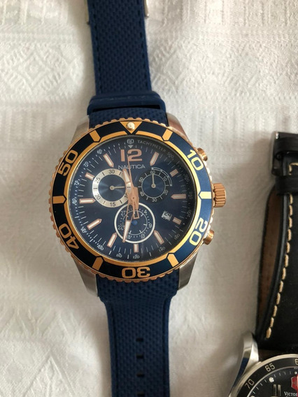 Relogio Nautica Dourado Com Azul - Pulseira De Borracha