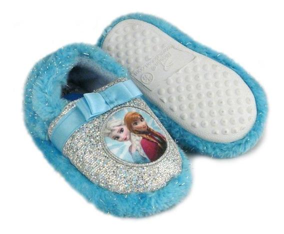 Pantufa Frozen Ricsen Infantil Menina Brilho Azul/rosa