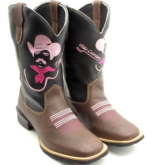 Bota Texana Feminina Country Em Couro Com Bordado Promoção