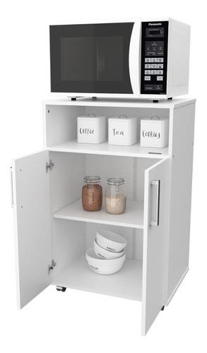 Imagen 1 de 6 de Mueble Organizador Porta Microondas Horno Con Ruedas Cocina
