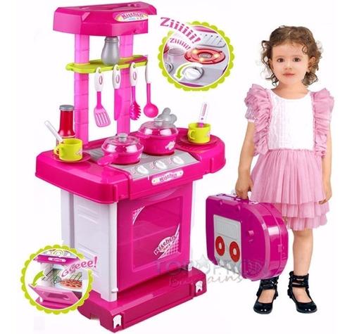 Cocina Infantil Niñas Maletin Pricesas Ollas Horno + Envio