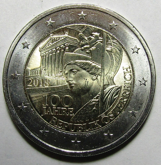 Austria Moneda Bimetalica 2 Euros 2018 Unc 100 Aniv Austria