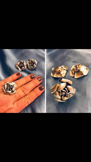 Conjunto Brinco/anel Flor