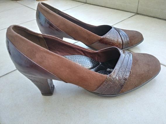 Zapatos Picadilly Acolchados Mujer Taco Cuero Marrones 38.5