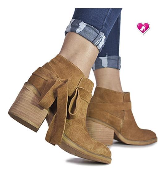 Botineta Mujer Texana Cuero Modelo Montana De Shoes Bayres