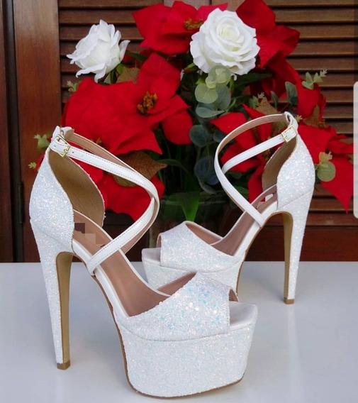 Sapato Sandalia Noiva Branca Brilho Salto 15 Lançamento