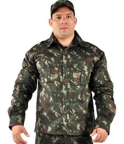 Camisa Masculina Manga Longa Elite Militar Camuflado Pesca