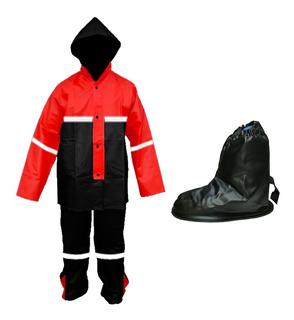 Impermeable Para Motociclista Rojo + Cubrezapatos