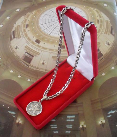 Gargantilha Medalha Tetragrammaton Joia Prata De Lei Antiga