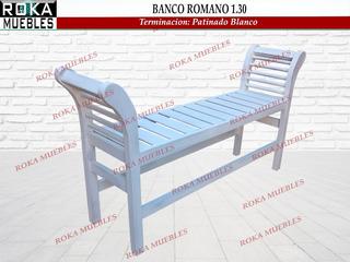 Banco Romano Cleopatra Pie De Cama 1.30 Patinado Blanco Roka