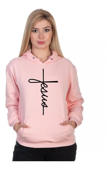 Moletom Feminino Jesus Gospel Canguru Estiloso Super Oferta