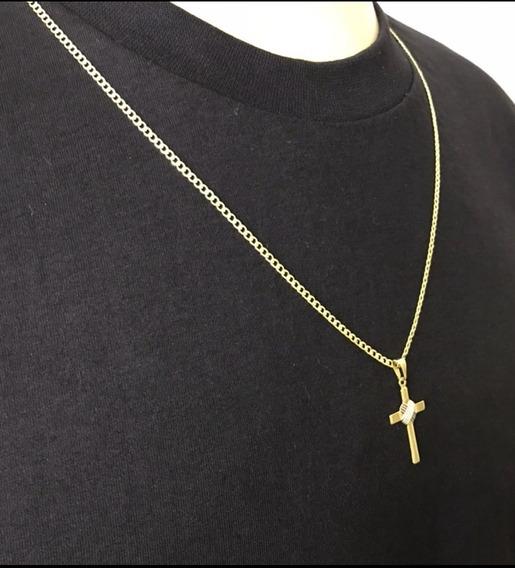 Corrente Masculina 60cm 2mm + Pingente Cruz Banhado Ouro 18k