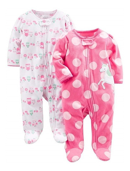 Set 2 Mamelucos De Pijama Para Su Bebe Niña 4 Marca Carters
