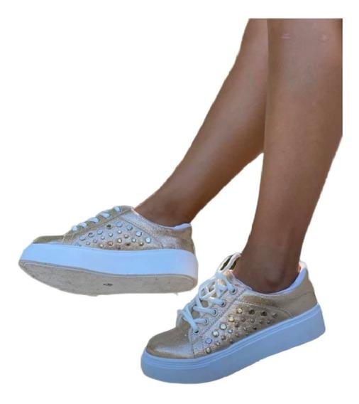 Zapatillas Sneakers Urbanas Plataforma Tachas Mujer