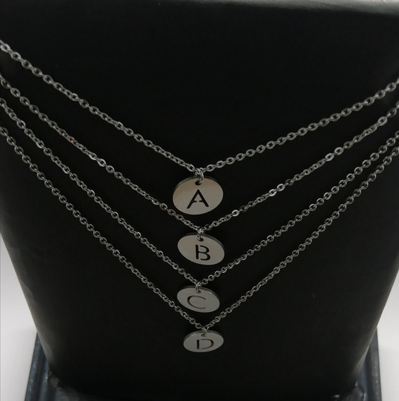 Collar Letra Inicial Acero Inoxidable