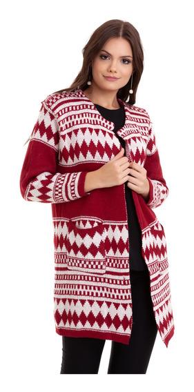 Casaco Lã Étnico Vermelho Kinara