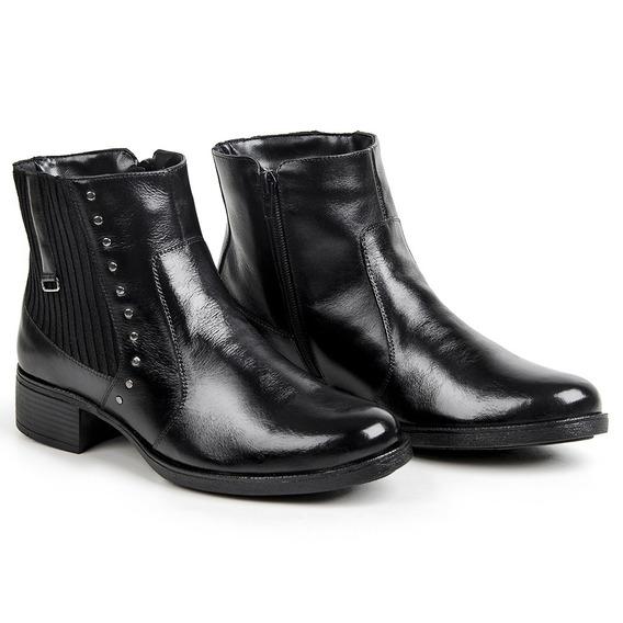 Coturno Botinha Feminina Couro Ankle Boots Blackfriday 2019