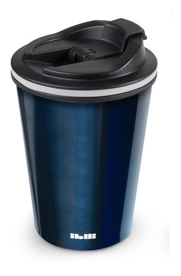 Termo Azul Forma Vaso Doble Pared Sin Bpa 410 Ml Inox Ibili