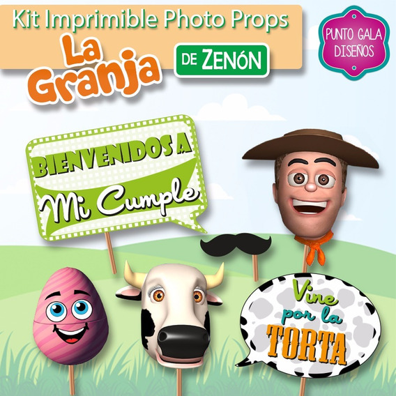 Photo Props Granja Zenon. Kit Imprimible. Banderines Cumple