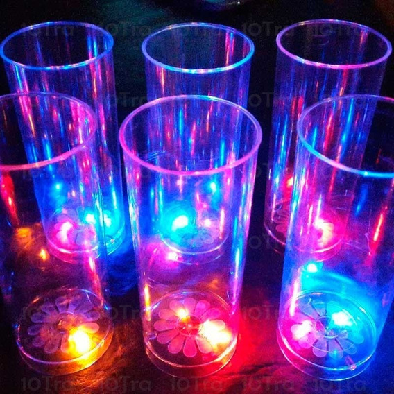 10 Vaso Trago Largo Led Rgb Fiestas Cotillon Luminoso Bar