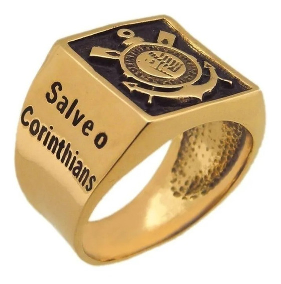 Anel Com Frase Salve O Corinthians Banhado A Ouro 18k