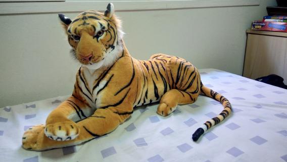 Tigre Pelúcia - Safari - Comprimento 80cm - Decoração