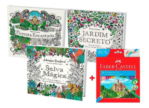 Kit 3 Livros De Colorir Antiestresse + Lápis De Cor 24 Cores