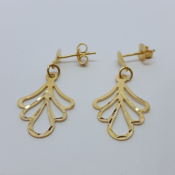 Brinco Feminino Dourado Pendurado Vazado Detalhe Diamantado