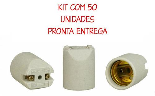 Imagem 1 de 1 de 50un Bocal Soquete Receptáculo Porcelana E27 Spot Chanfrado