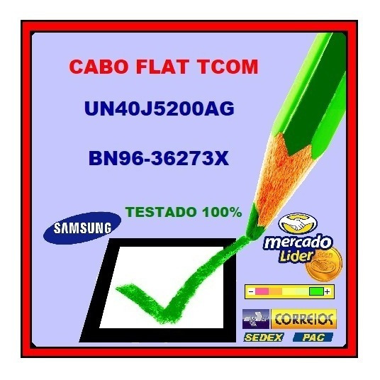 Cabo Flat Tcom Samsung Un40j5200ag Bn96-36273x